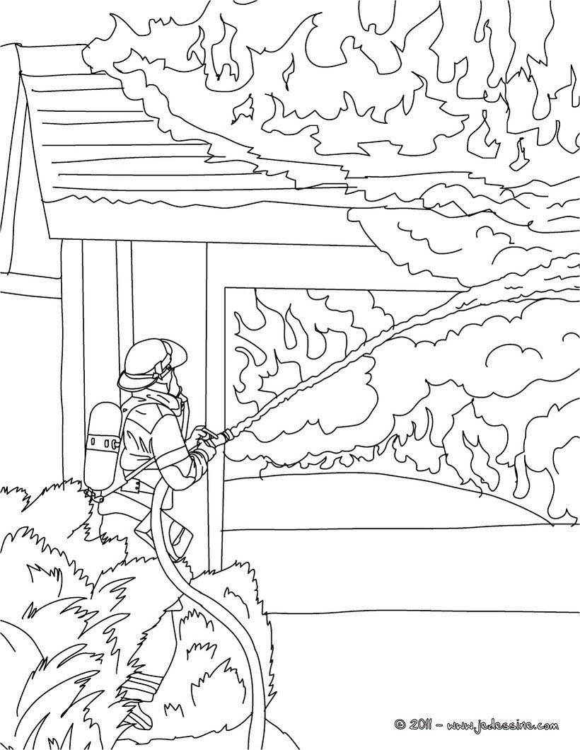 Coloriages Coloriage Gratuit Pompier Frhellokidscom