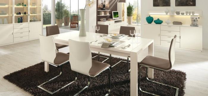 white contemporary dining set