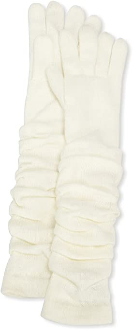 Jessica Simpson Women's Rouched Knit Glove, White, One Size