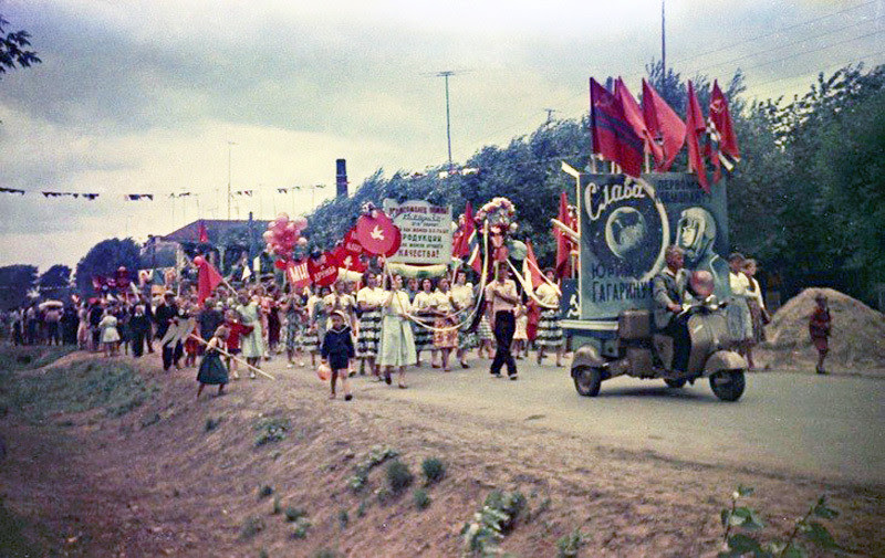 Праздничная демонстрация, 1961 год: авто, история, мото, мотороллер, ссср