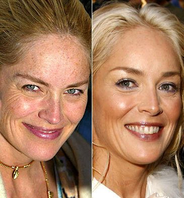 Sharon Stone (l) Natural (r) Photoshop