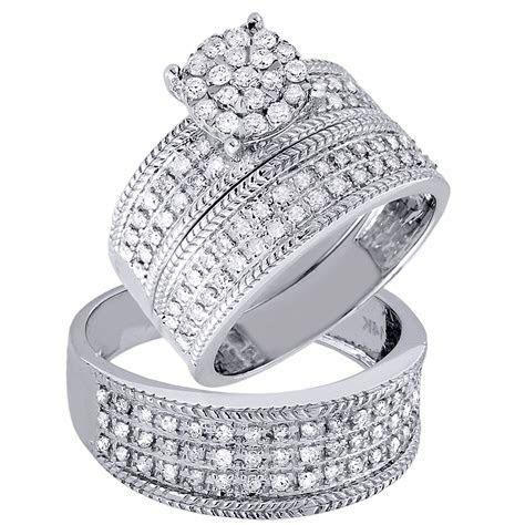 Diamond Trio Set Engagement Ring Wedding Band 14K White