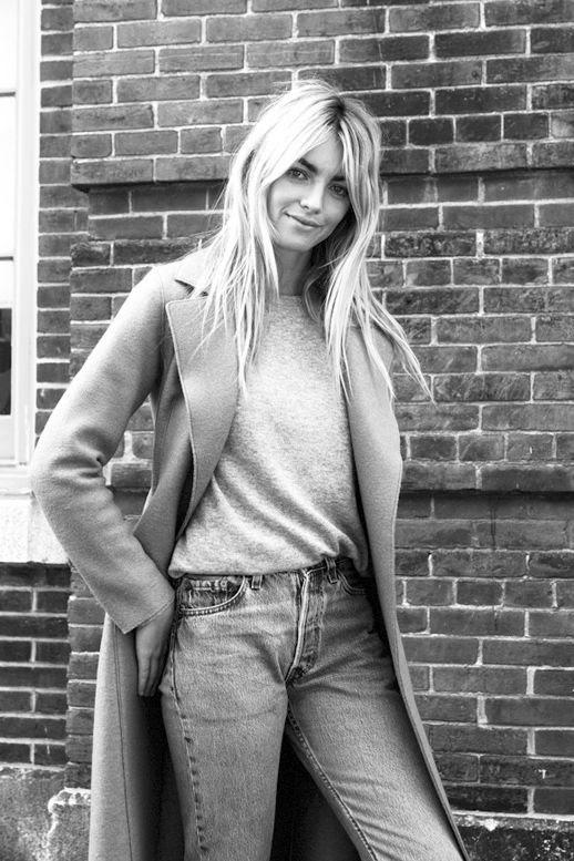 Le Fashion Blog Model Off Duty Elyse Taylor Casual Spring Look Long Coat Sweater Denim Via BLDG 25