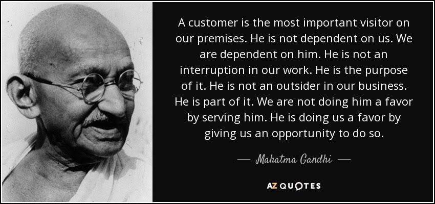 Gandhi's quotes on customer க்கான பட முடிவு