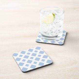 Light Blue Diamonds on White Beverage Coasters