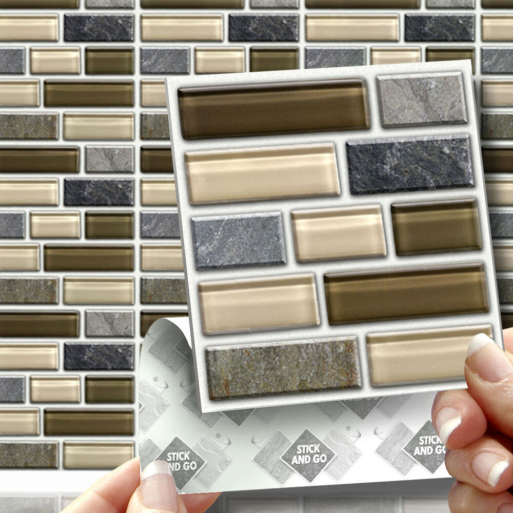 18 Peel, Stick & Go Stone Glass Tablet Wall Tiles Stickers ...