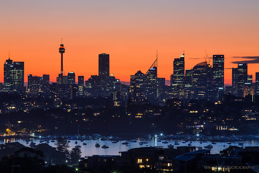 The Sydney cityscape at sunset from Dover Heights