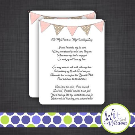 parents   wedding day poem  etsy