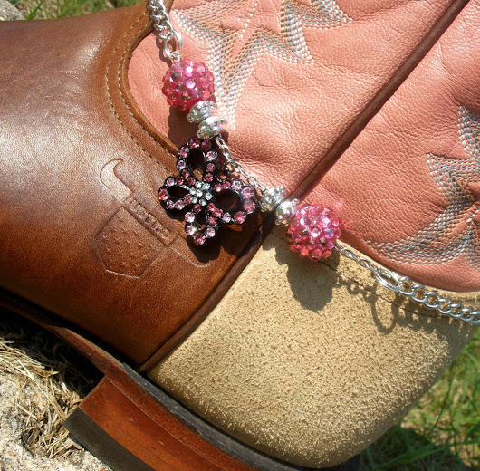 Boot Bling Boot Bracelet - Butterfly Bling - Pink, Black, Silver, Chain, Cowgirl, Country,