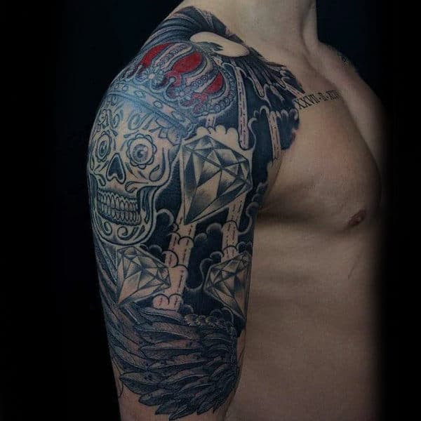 Black And Grey 3d Two Skull Tattoo On Man Right Half Sleeve