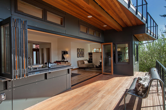 Open wall kitchen and deck - contemporary - deck - seattle - by