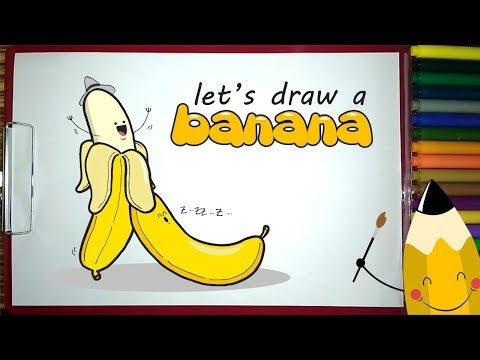 Draw a Banana Cartoon Simple and Easy for Kids