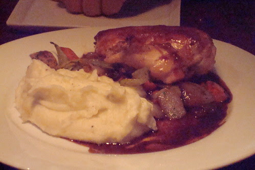Free-Range Roasted Chicken, mirepiox, mashed potatoes, pan gravy