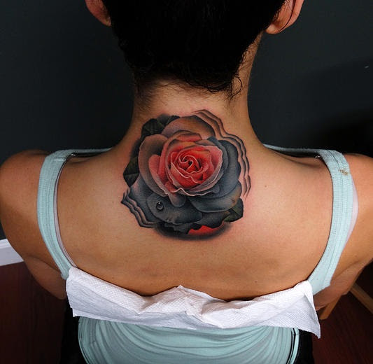 Pink And Grey Rose Tattoo By Andres Acosta On Back Of Neck Best