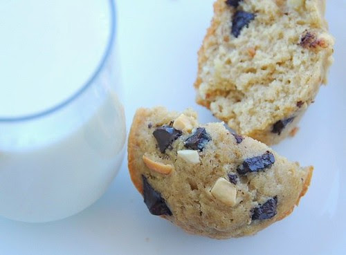 crunchy peanut butter, banana, and chocolate chunk muffins and milk