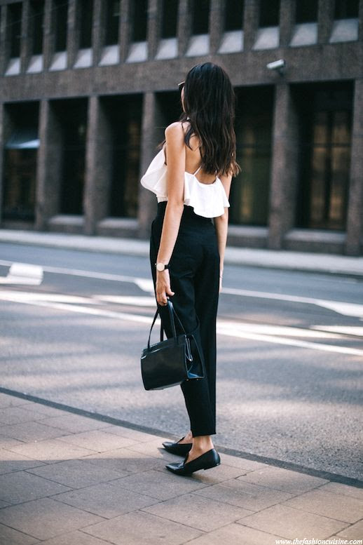 Le Fashion Blog Blogger Style Masculine Meets Feminine Look Sleeveless Ruffled White Top Classic Watch Shoulder Bag High Waisted Black Pants Pointed Toe Loafers Via The Fashion Cuisine