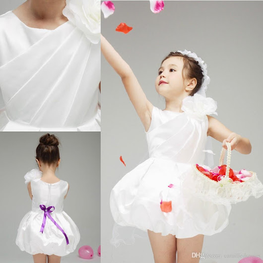 Discount  Princess 2015 Flower Girl Dresses with Handmade Flowers Bubble Cupcake Pageant Gowns Satin White Crew Bowknot Beautiful Flower Girls Dresses Online with $83.77/Piece | DHgate.com