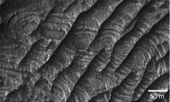 Periodic Bedrock Ridges on Mars. Image credit: University of Washington