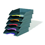 Durable Stackable Letter Tray, Gray & Multicolor, Varicolor, Set Of 5 (770557)