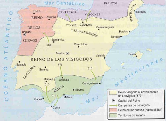 Resultado de imagen de reino visigodo leovigildo