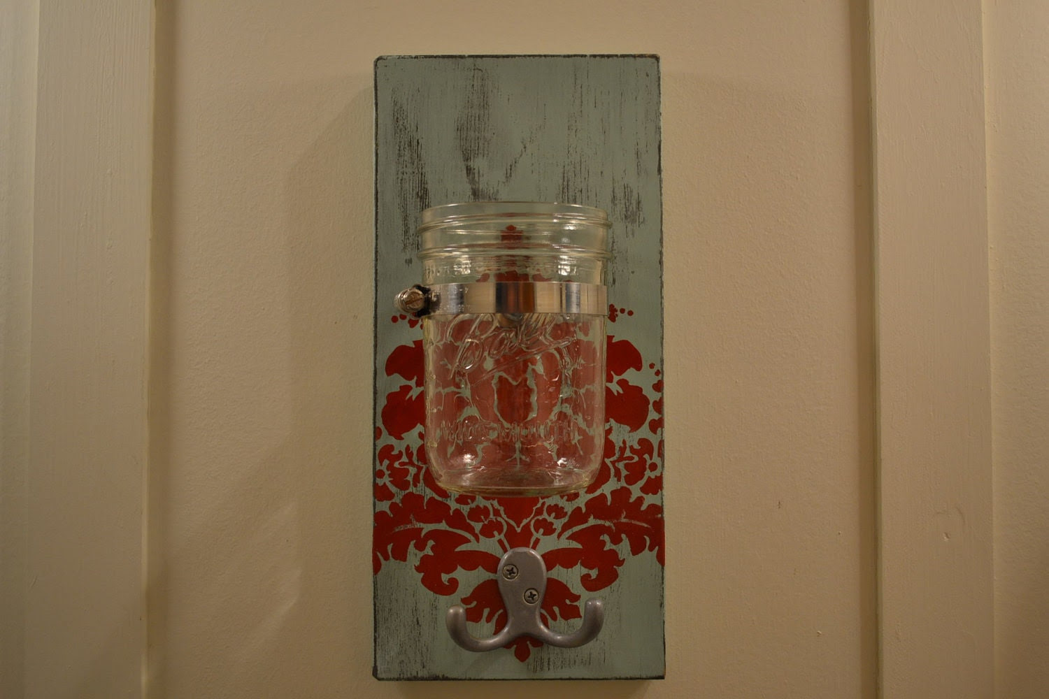 Mason Jar Wall Sconce Shabby Chic Vase Hook Damask by 2hoots