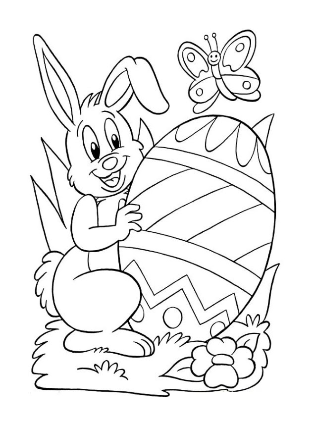 happy easter bunny egg coloring pages - Preschool Crafts