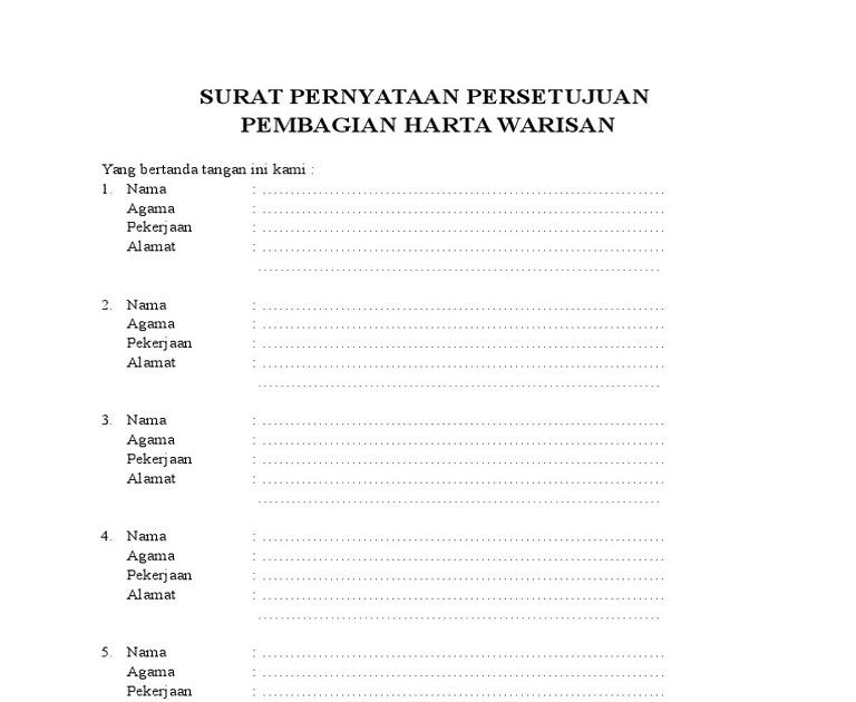 Contoh Surat Pernyataan Persetujuan Ahli Waris