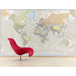 Giant World Wall Map Mural 91.3w x 62.2h Classic Antique Waypoint Geographic