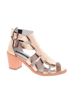 Image 1 of Miista Shona Gold Heeled Gladiators Sandals