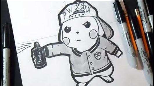 dessin pikachu mauvais graffiti - Dessin Graffiti