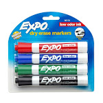 Expo 80174 Low Odor Ink Dry Erase Markers W/ Chisel Tip, Assorted Colors, 4-pk
