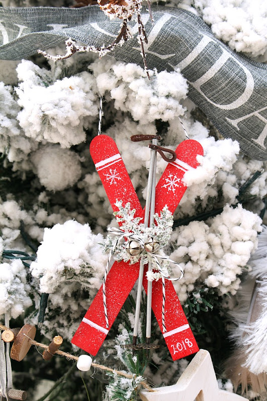 Popsicle Stick Skis Christmas Ornaments - Clean and Scentsible