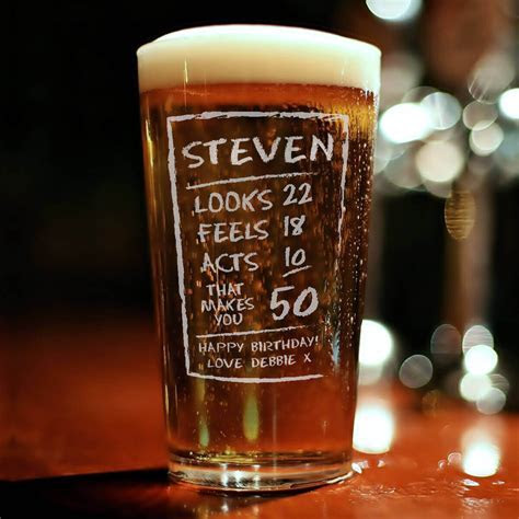 Personalised 50th Chalk Birthday Engraved Pint Glass   Giftpup