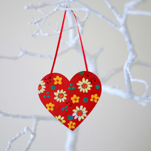 Red Hanging Heart, Easter Decoration, Mother's Day Floral Heart