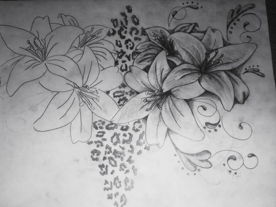 Black And White Leopard Flower Tattoo Design