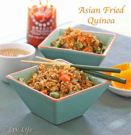 Asian Fried Quinoa in blue square bowl with chop sticks