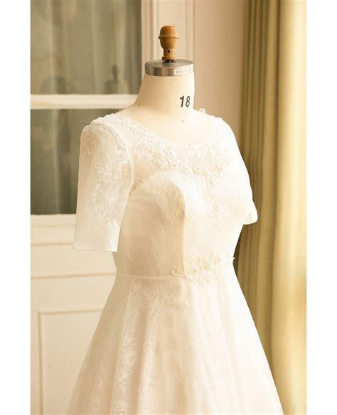 Modest Plus Size Ivory Lace Mature Women Wedding Dress