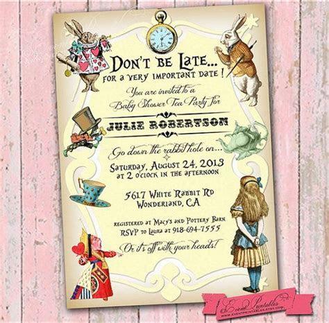 Alice in Wonderland Invitation Printable, Alice in