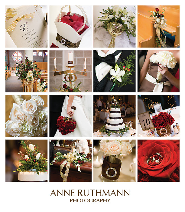 Red Brown Real Wedding Detail Inspiration Board
