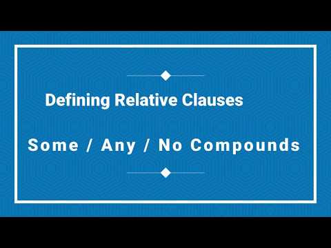 Tema: Defining Relative Clauses / Some, any, No compounds