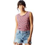 Alternative Eco Jersey Cap Sleeve Crew Women's Clothing Washed Rose Overdye Riviera Stripe : 2XL