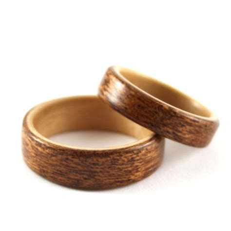 Birch And Mahogany Wooden Wedding Ring Pair   Harestree