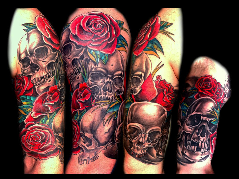 Skull And Rose Sleeve Tattoo Design Of Tattoosdesign Of Tattoos