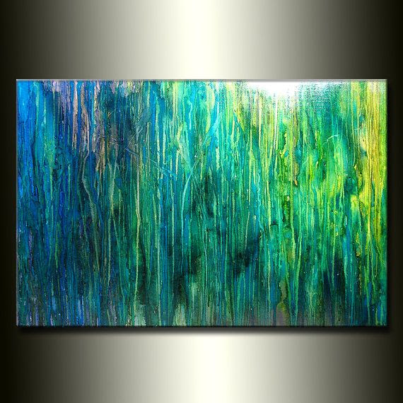 Blue And Green Abstract Painting At Paintingvalleycom Explore