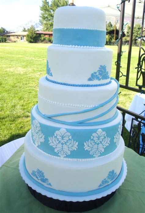 Wedding Cakes Pictures: Blue Damask Wedding Cakes Pictures