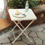 PHI VILLA Outdoor Folding Metal Bistro Side Table White