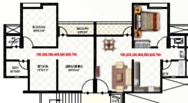 "1 BHK Flat - 16.82 to 17.83 Lakhs - 401 Carpet (including balcony) - Living cum Dining - 9'6"" x 14'6"" + Kitchen - 7' x 11'3"" + Bedroom - 9' x10'  - Namrata Eco City, 1 BHK & 2 BHK Economical Flats, Varale Road, Talegaon, Pune"