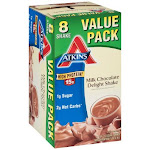 Atkins Protein-Rich Shake, Milk Chocolate Delight, Value Pack - 8 pack, 11 fl oz shakes