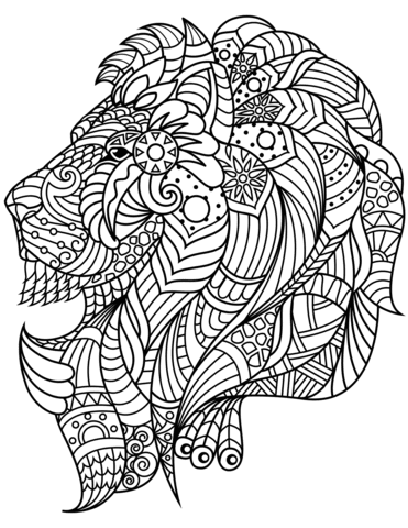 lion head zentangle coloring page  free printable