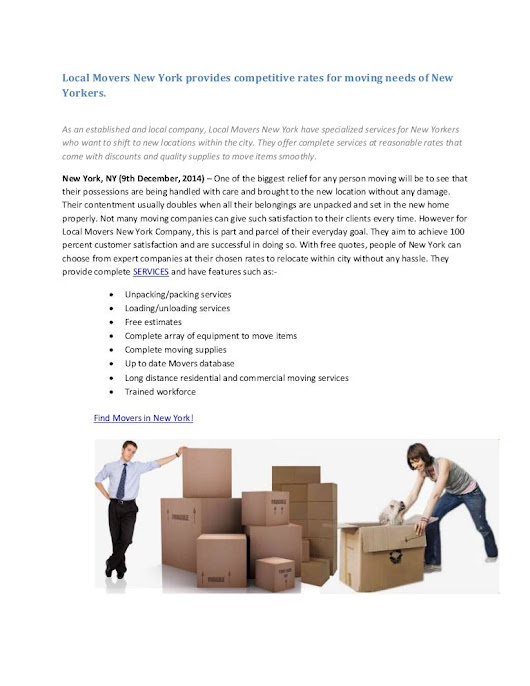 Local Movers New York provides competitive rates for moving needs of …